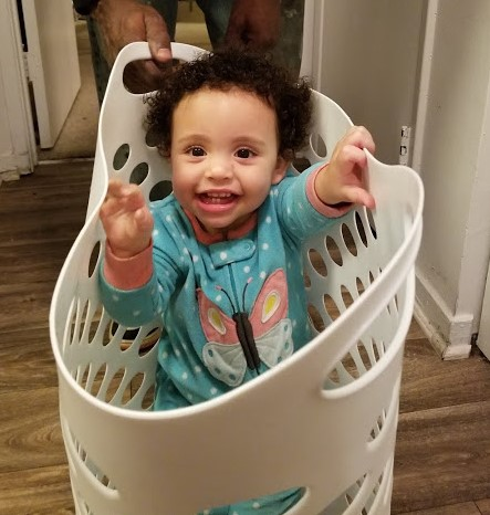Maddie In Laundry Basket